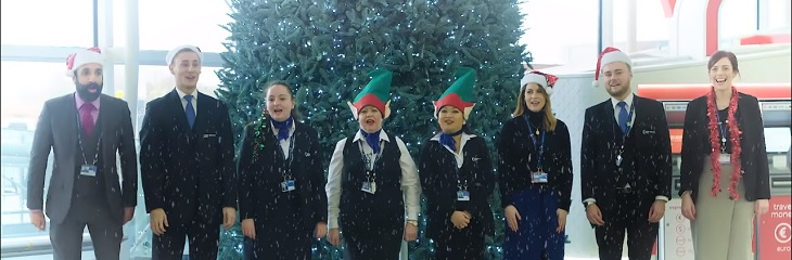 London Stansted Airport staff make a song and dance about Christmas travel tips