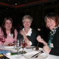 Enjoying the dinner buffet are, from the left: Lucy Clancy, Sarah Nowell-Stuart and Yvonne Montgomery, all from Aspen Travel.