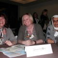 Ailsa Tavares (left) from Seasons In Africa chats to Dawn Wigley (centre) from STA and Khaleda Ali from Stratford Travel.