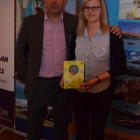 Simon Eddolls with the lucky chocolate prize winner – Margaret Oldakowski, from Polonez Travel