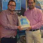 Peter Breeze wins a Greek goody bag from Kiriakos Liolios Greek National Tourist board