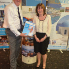 Melanie McCarthy (tailor Made travel) walks away with a hotel stay with Constantinou Bros Hotels and Mark Richardson