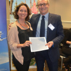 Sarah Martin from Travel Counsellors wins an accommodation at Kanika Hotels from Darren Eade