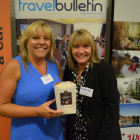 Bingo chocolates- Jayne Chapman from Your Holiday Expert with Jeanette Ratcliffe from Travel Bulletin