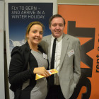 Gemma Morton from Thomas Cook with Malcolm Adcroft from Skywork Airlines/ Bern Tourism