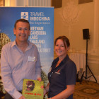 Prize winner Paul Cahill, Thomas Cook Southport with Lesley Wright, Travel Indochina with his Indochine Cook Book