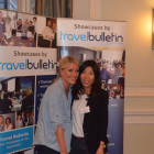 Claire Oakes, Thomas Cook Bury with Yumi Takakubo, JNTO winning a bottle of rice wine