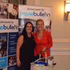 Hayley Anderson, All Leisure Holidays presenting Stephanie Robinson, Moorend Travel with a summer hamper