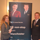 Rachel Uttley, Thomas Cook Bury with Keith Harrison Cathay Pacific winning a place Cathay Pacific Manchester FAM trip