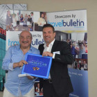 Bingo Prize winner Gehad Philobbos (Mina World Travel) with Simon Eddolls Travel Bulletin