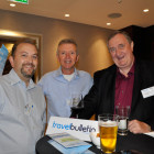 Drinks reception agents Left: Paul Warry, Ultraviolet Travel Middle: Derek Small; The Flight Centre & Beautiful Garden Holiday Right: Edward-Waite Roberts, Chandelle Travel Ltd