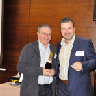 Adrian Smyth, Jetset (right) with Allan Winthrop, Fourways Travel who wins a bottle of Champagne
