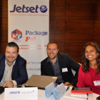 Exhibitors Adrian Smyth, Jetset; James Spalding, Virgin Atlantic and Nisha Tailor, Jetset