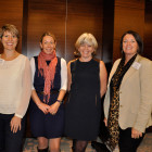 Drinks reception exhibitors Rebecca Wilson, Alaska Second left Jane Fraser, Destination British Columbia Julie Greenhill, Massachusetts Orla Kern, Cosmos Tours and Cruises