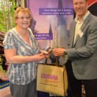 Anita Brewster ( Tailor Made Travel ) wins a goody bag from Neil Jones, Louisiana