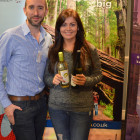James Mead ( California ) gives two bottles of California wine to Hayley Wintle ( Kuoni )