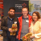 Winners of the 2 grizzly bears are Sulimen Patel ( Not Just Travel ) and Julie Birch ( PTA Midcounties Co-Operative ), with Roger Harris from the Canada Tourism Commission