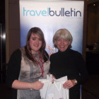 Lindsay Haddock, Virgin Holidays receicing Massachusstes Goody Bag, from Julie Greenhill, Account Manager Massachusetts Tourism