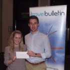Alison Nicholls, STA Travel with Rob Grover, Uk Senior Sales Manager, Expedia winning a £50 Amazon Voucher