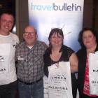 Holding their Kansas & Oklahoma Goodys Bags are Scott Martin, Thomas Cook Sale, Mellanie Kerford Aspen Travel and Paula Reynolds, Co-operative Travel Hazel Grove, Matt Bates, Destination Awareness Manager from Kansas & Oklahoma Travel & Tourism presenting the prizes.
