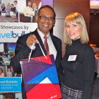 Prize Draw Winner of a Czech Republic Goody Bag: Herman Vas, receiving his prize from Vendy Fojtova of Czech Tourism