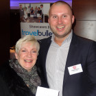 Prize Draw Winner of £50 M&S Vouchers: Jenny Jackson, Travel PA receives her prize from Guillaume Massey of OTT