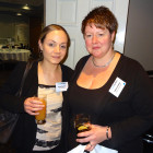 Wendy Ackermann & Angharad Griffiths catching up over a drink, from Sam Smith and Strachan Sports Travel