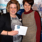 The lovely Vicki Marley from Great Rail Journeys gives Claire Morgan from Tailor Made Travel a £50 M&S shopping voucher!!