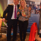 Simon Eddolls, Travel Bulletin on behalf of St Helena giving the lucky Agnieszka Walczak from Gosia Travel her prizes.