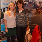 Jessica Poole, Destination Quebec hands Violetta Malcher from Gosia Travel a Quebec Goody Bag