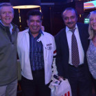 Enjoying themselves after a tremendous evening are Derek Small, Flight Centre, Greenwich. Prakash Patel, Garuda Orient Holidays. George Singh, Hays Travel. Chrissy Mackenzie-Cooper, Ottery Travel.