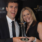 Wowed to win the award for Star Weddings & Honeymoons Operator are Kuoni's Brad Bennetts and Lisa Eggleton.