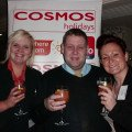 Meade Campbell (left), Allan Jones and Kirsty Buckley from Thomas Cook enjoy the fruit punch.