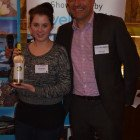 Prize draw winner number 2 was Virgin Holidays Letitia Woodison, with Travel Bulletin's Simon Eddolls