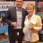Scrub Islands & Half Moons Max Tchanturia, gives the lucky Sharon Clayson (Co Op PTA) a bottle of Champagne and treats