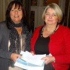 (l to r) Ailsa Tavares of Desroches Island, Seychelles presents a prize of a stay on Desroches Island to Janette Ashby of Global Travel Bamber Bridge.