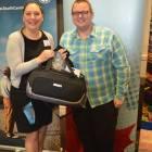 Peter Breeze wins a goody bag from Liz Langan Air Canada