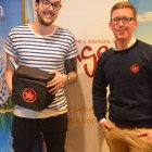 Winning the Air Canada Goody bag is Russell Ream ( STA Travel Leeds ), from Kevin Rogers from Air Canada