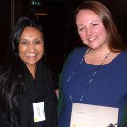 Prize Draw Winner of 3 nights Unlimited Stay at a Dreams or Now Resort in Mexico or The Dominican Republic: Ambika Aggarwal of Flight Centre receives her prize from Sarah Spooner of AM Resorts