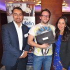 Prize Draw Winner of a 7 night holiday for two at the El Gouna Club Paradisio Hotel: Ben King of Dialaflight (centre) receives his prize from Mohammed Elnaggar of the Egyptian Tourist Office and Nevine Coutry of El Gouna and Taba Heights