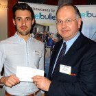Rob Grover of Expedia presents Andrew Reed of Bath Travel with a £50 Amazon Voucher