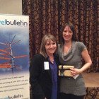 Jeanette Ratcliffe of Travel Bulletin and winner of the Africa prize bingo Shelley Parry Grosvenor Travel. Prize: Belgian chocolates.