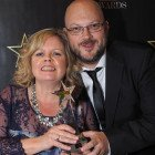 Edwina Coppock and Richard Tarrant collect Titan Travel's award for Star Escorted Tours Operator.