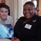 James Wooderson from STA Travel with Vivienne Williams, Turks & Caicos Islands Tourist Board