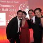 Midlands Travel Trade Ball at the Belfrey, Simon Eddolls (Travel Bulletin), Julie Bailey (Emirates), Phil Courtney (Emirates) and Caroline Hughes (Emirates)
