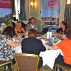 Natalie Crossland and Andrew Warden present Villa Parade to a group of travel agents